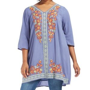 cd23670b9e3 1X ANDREE BY UNIT blue EMBROIDERED TUNIC top DRESS